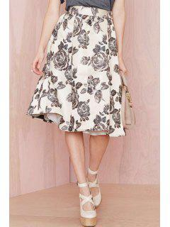 Floral Print Ball Gown Skirt - White And Black 2xl