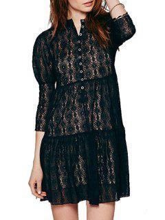 Round Neck See-Through Floral Pattern Dress - Black M