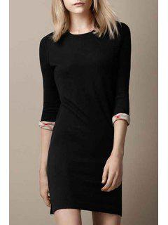 Black Round Neck 3/4 Sleeve Sweater Dress - Black L