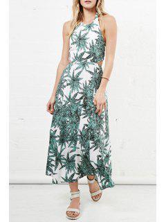 Halter Neck Green Leaves Print Dress - Green S