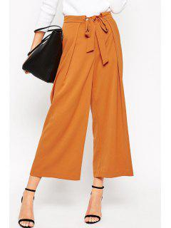 Soft Culotte With Tie Waist - Camel S
