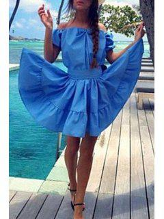 Off-The-Shoulder Ruffled Azure Dress - Azure Xl