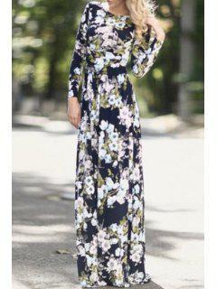 Full Floral Print Long Sleeves Maxi Dress - Black Xl