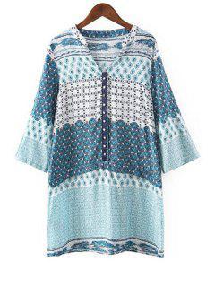 V Neck Tiny Floral Print Long Sleeve Dress - Blue Xl