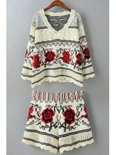 Floral Pattern Long Sleeve Sweater + Shorts - Red