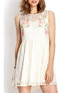 Lace White Round Neck Sundress - White L