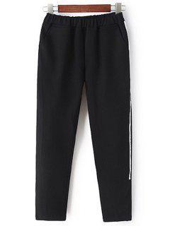 White Stripe Edging Elastic Waist Pants - Black M