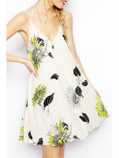 Flower Print Cami Backless Dress - White 2xl