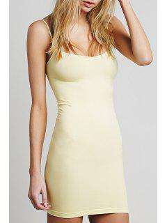 Solid Color Cami Bodycon Dress - Light Yellow L