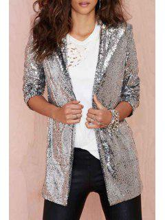 Turn-Down Collar Sequins Long Sleeve Blazer - Silver Xl