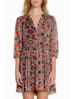 Half Sleeve Full Floral Single-Breasted Dress - S