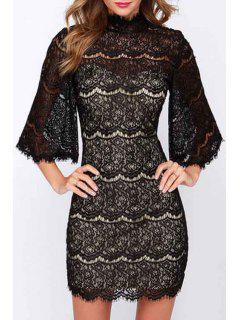 Stand-Up Collar Black Lace Openwork Dress - Black S