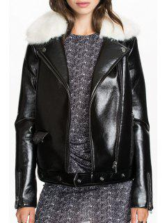 Turn Down Collar PU Leather Black Jacket - Black M