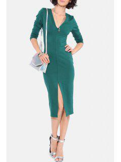 Long Sleeve Front Slit Bodycon Dress - Green 2xl