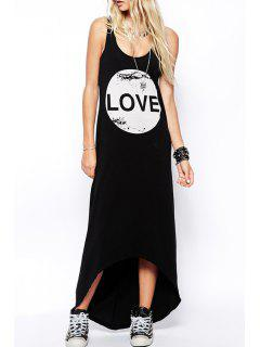 Letter Print Scoop Neck Maxi Sundress - Black L