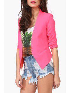 Candy-Colored Irregular Hem Blazer - Rose S