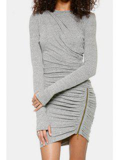 Long Sleeve Ruched Gray Bodycon Dress - Gray M