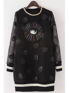 Full Eye Print Long Sleeve Dress - Black M