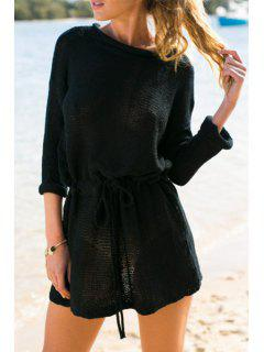 Fashionable Jewel Neck Solid Color Tie-Up Long Sleeve Dress For Women - Black S