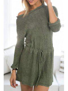 Fashionable Jewel Neck Solid Color Tie-Up Long Sleeve Dress For Women - Army Green L