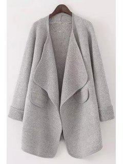Pure Color Turn Down Collar Long Sleeve Cardigan - Gray L