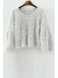Mohair Scoop Neck Long Sleeve Jumper - Off-white