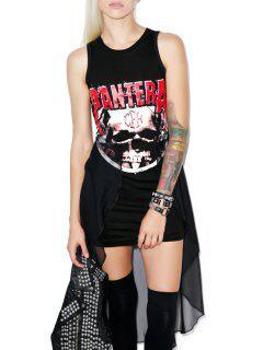 Sleeveless Graffiti Print Layered Dress - Black Xl