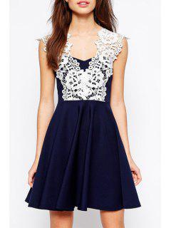 V Neck White Lace Splicing Dress - Cadetblue M