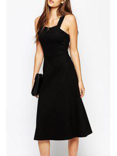 Fit And Flare Black Midi Dress - Black Xl