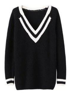 V Neck White Black Stripe Long Sleeve Sweater - Black