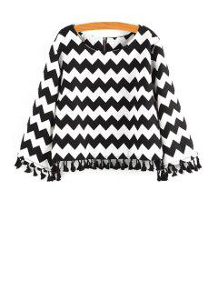 Black White Zig Zag Long Sleeve Blouse - White And Black