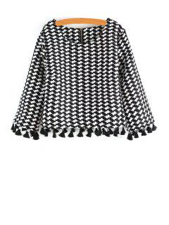 Scoop Neck Houndstooth Pattern Long Sleeve Blouse - White And Black