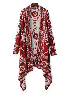 Color Block Geometric Pattern Long Sleeve Cardigan - Red