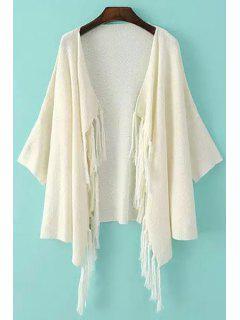 Solid Color Fringe Half Sleeve Cardigan - White