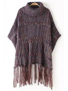 Turtle Neck Color Mixed Fringe Half Sleeve Sweater - Red