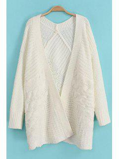 Cable-Knit Long Sleeve Cardigan - White