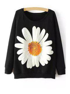 Sunflower Print Long Sleeve Sweatshirt - Black