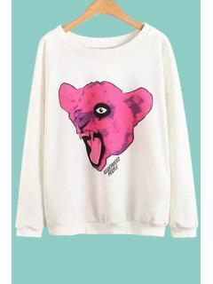 Animal Print Round Collar Long Sleeves Sweatshirt - White L