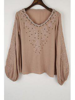 Long Sleeve Embroidered Beading Blouse - Khaki M