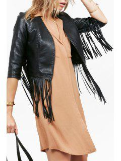 Glamorous Vegan Leather Fringe Jacket - Black S