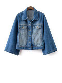 Denim Turn Down Collar Long Sleeves Coat - Blue L