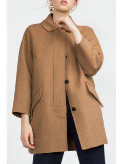 3/4 Sleeve Single-Breasted Coat - Khaki M