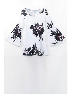 Bell Sleeve Floral Print Dress - White M