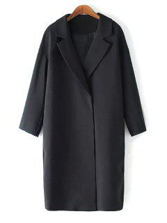 Solid Color Lapel Long Sleeve Maxi Blazer - Black M