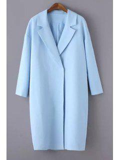 Solid Color Lapel Long Sleeve Maxi Blazer - Light Blue 3xl