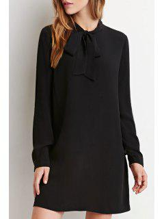 Chiffon Self Tie Stand Neck Long Sleeve Dress - Black M