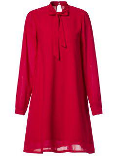Chiffon Self Tie Stand Neck Long Sleeve Dress - Red M