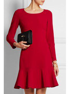 Red Ruffled Scoop Neck Long Sleeve Dress - Red S