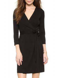 Black V Neck 3/4 Sleeve Wrap Dress - Black S