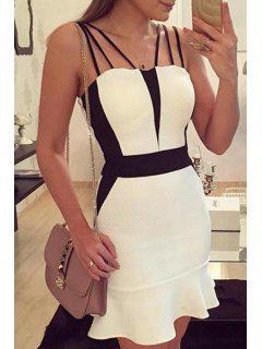 Spaghetti Strap Packet Buttocks Prom Dress - White L
